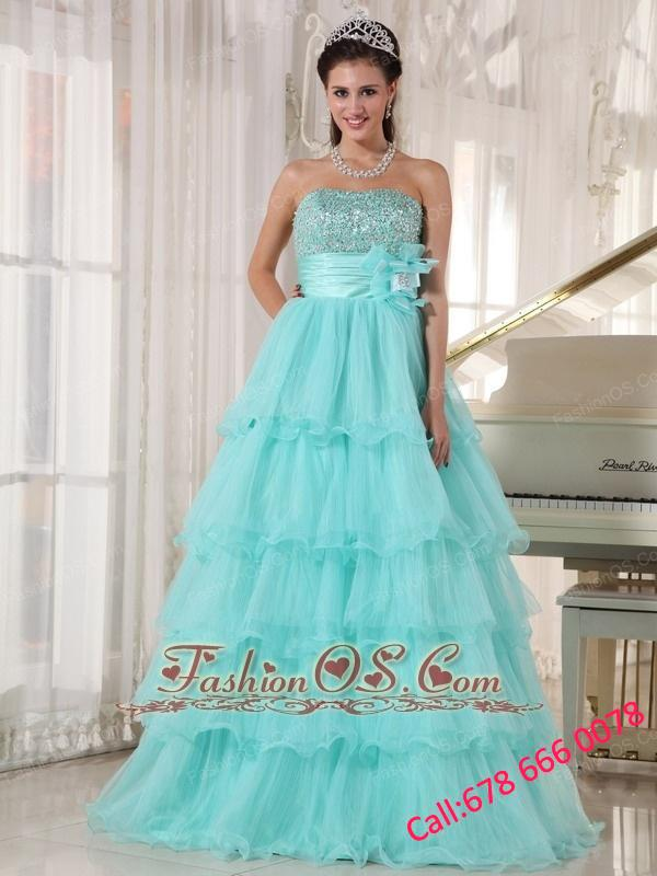 Popular Apple Green Quinceanera Dress Strapless Taffeta and Organza Beading A-line