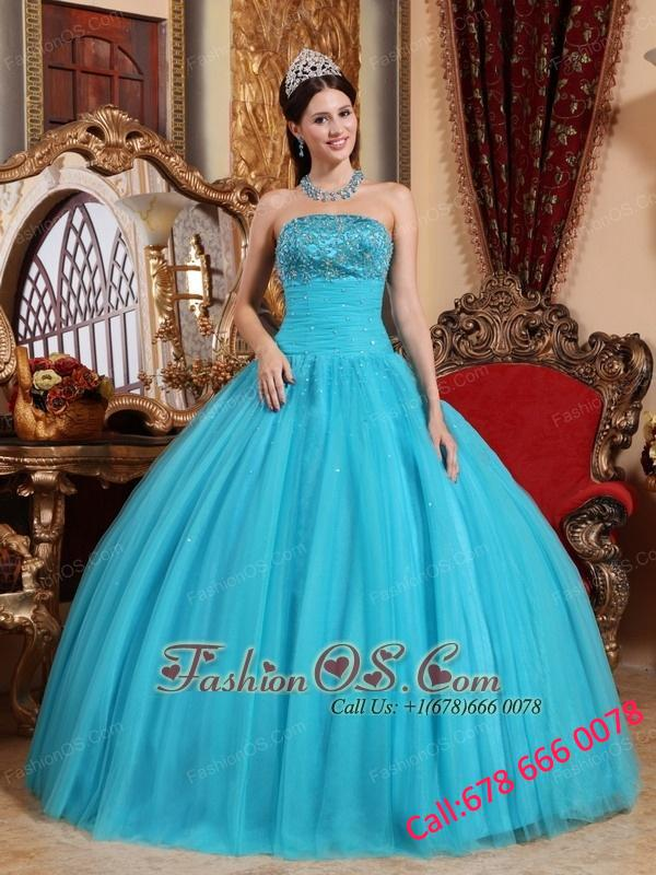 Popular Turquoise Quinceanera Dress Strapless Tulle Embroidery with Beading Ball Gown