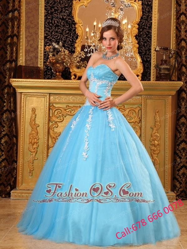 Popular Aqua Blue Quinceanera Dress Sweetheart  Tulle Appliques Ball Gown
