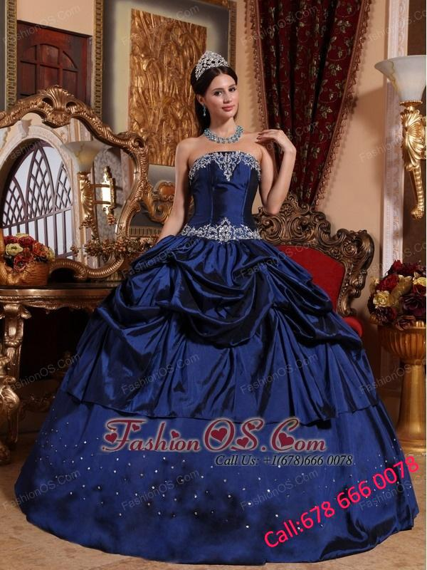 Popular Blue Quinceanera Dress Strapless Taffeta Beading Ball Gown