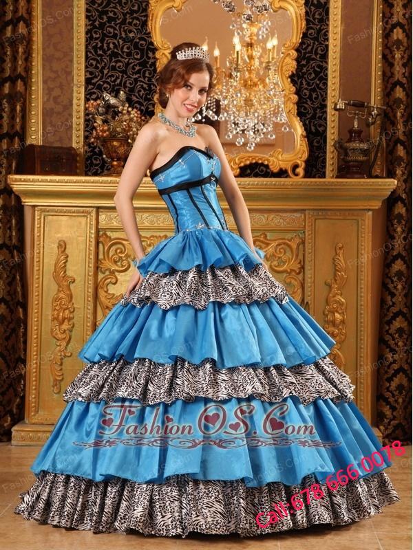 Popular Teal Quinceanera Dress Sweetheart Taffeta and Zebra Ruffles Ball Gown