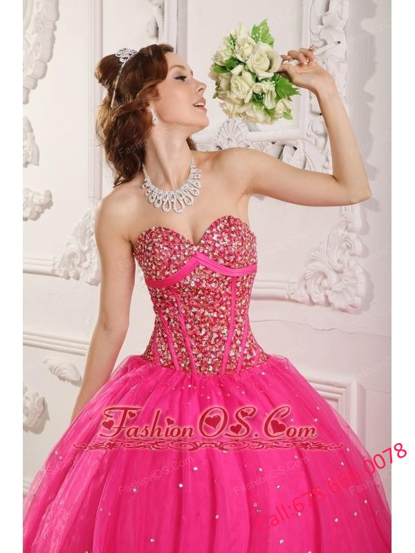 Popular Hot Pink Quinceanera Dress Sweetheart Satin and Organza Beading A-Line / Princess