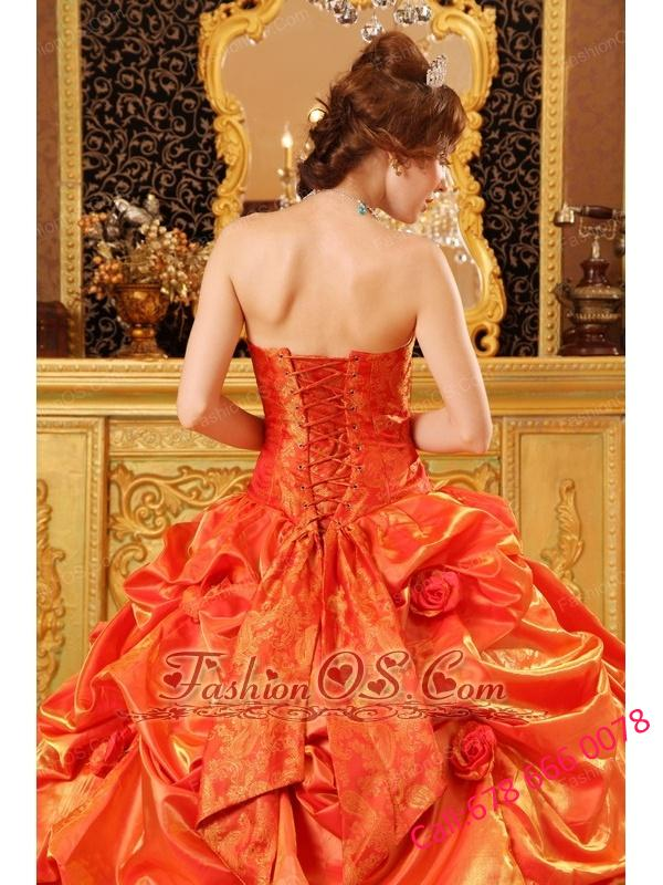 Popular Orange Red Quinceanera Dress Strapless Taffeta Handle Flowers Ball Gown