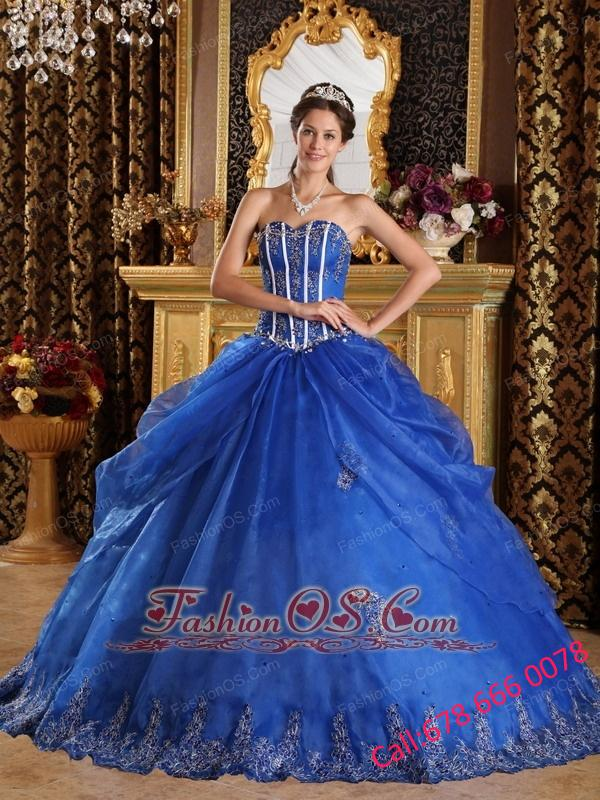 Popular Royal Blue Quinceanera Dress Sweetheart  Appliques Organza Ball Gown