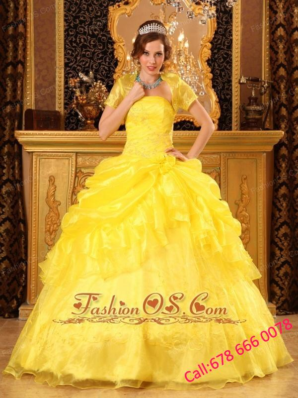 Popular Yellow Quinceanera Dress Strapless Organza Appliques Ball Gown