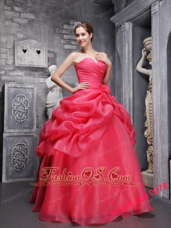 Pretty Coral Red Quinceanera Dress Sweetheart Organza Beading and Ruch Ball Gown