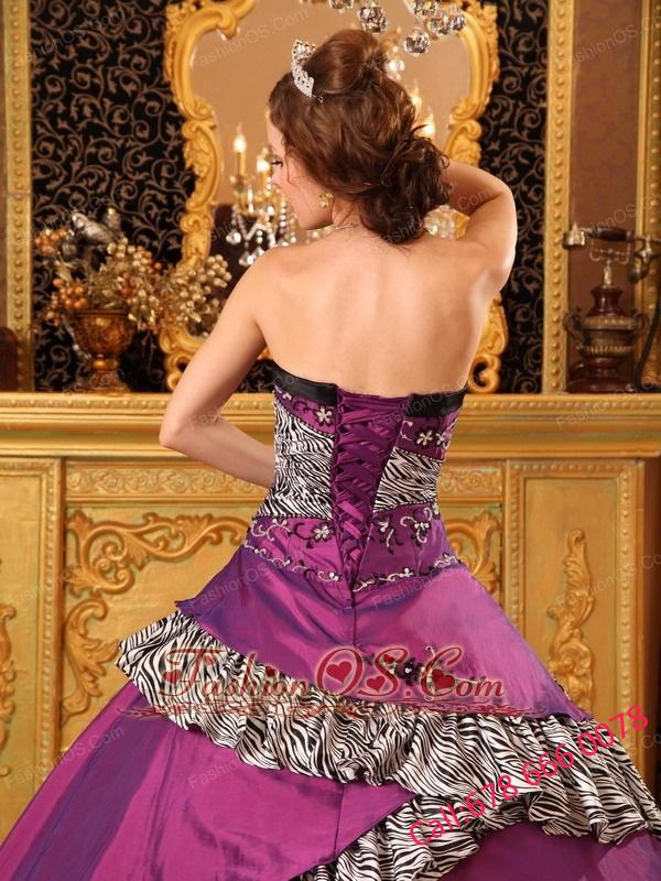 Pretty Fuchsia Quinceanera Dress Strapless Taffeta Embroidery Ball Gown