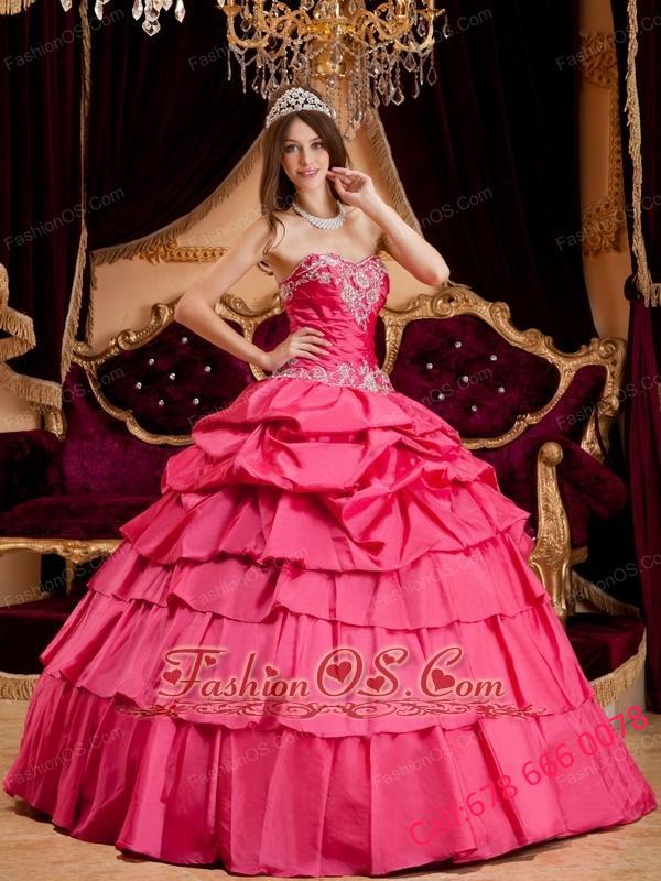 Pretty Hot Pink Quinceanera Dress Sweetheart Taffeta Appliques Ball Gown