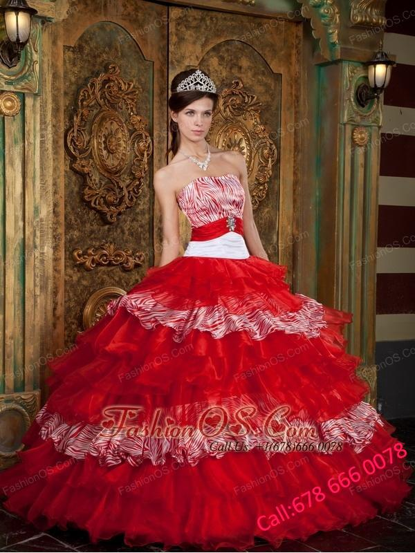 Pretty Red Quinceanera Dress Strapless Organza and Zebra Ruffles Ball Gown