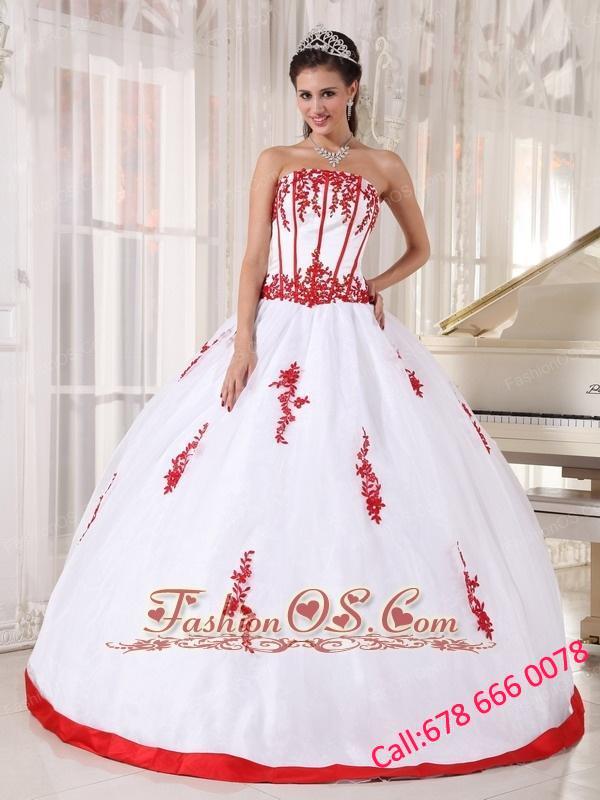 Pretty White Quinceanera Dress Strapless Satin and Organza Appliques ...