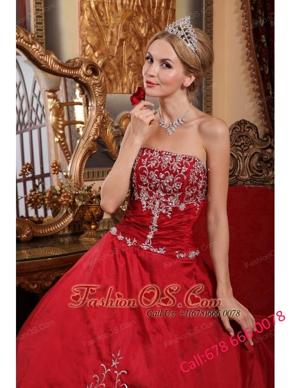 Pretty Wine Red Quinceanera Dress Strapless Satin  Embroidery Ball Gown
