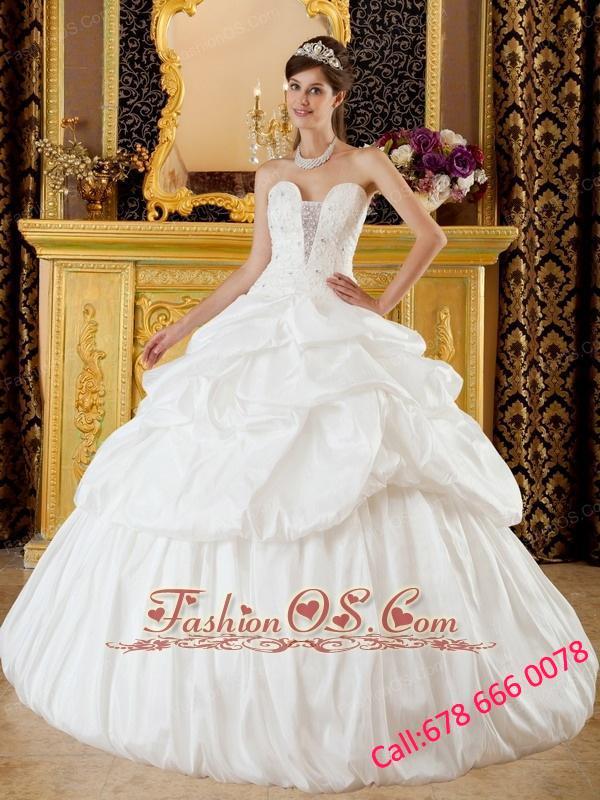 Remarkable Elegant Quinceanera Dress Strapless Taffeta Beading White ...