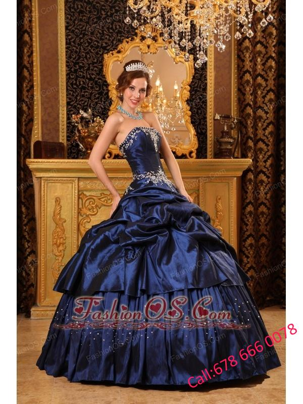 Remarkable Navy Blue Quinceanera Dress Strapless Appliques Taffeta Ball Gown