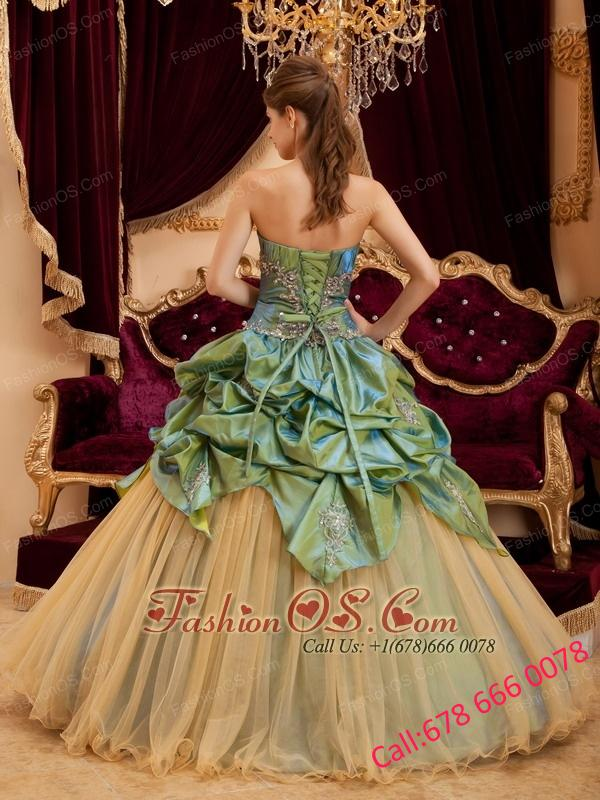 Remarkable Olive Green  Quinceanera Dress Strapless Taffeta and Tulle Beading Ball Gown