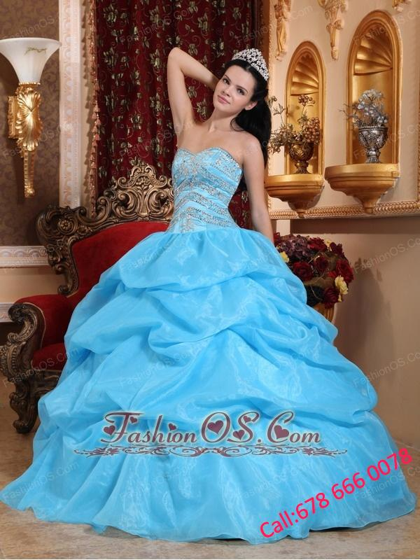 Romantic Aqua Blue Quinceanera Dress Sweetheart Organza Beading Ball Gown