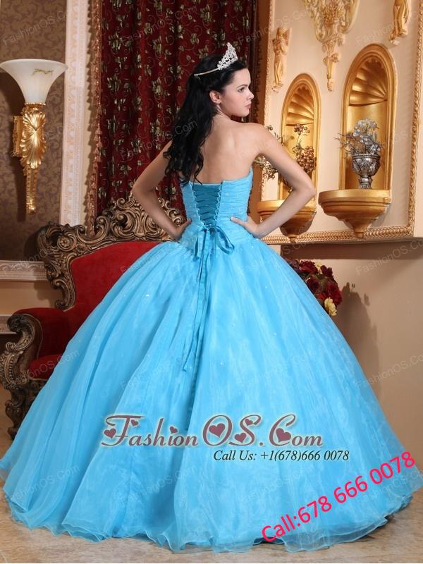 Romantic Baby Blue Quinceanera Dress Strapless Organza Appliques Ball Gown