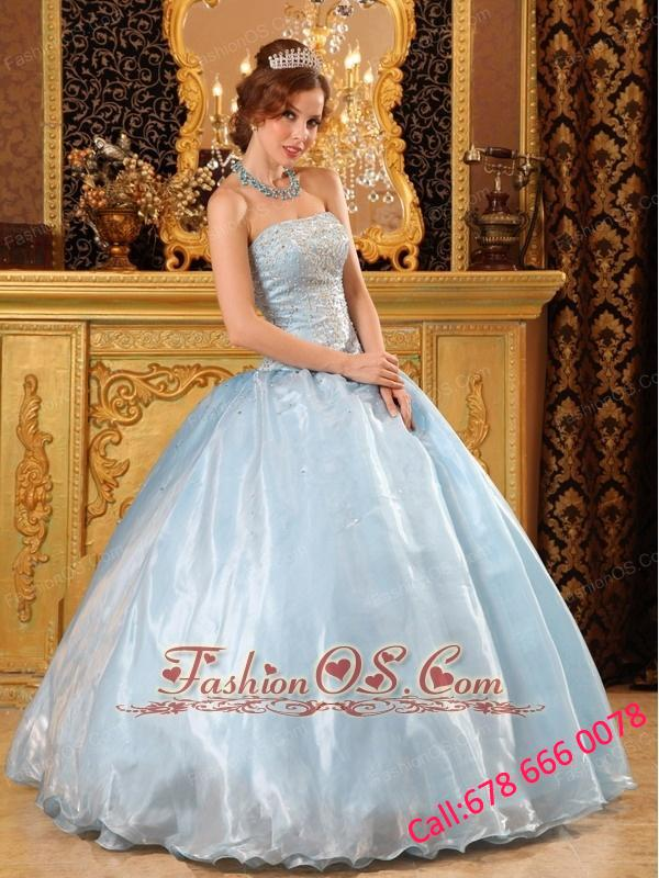 Romantic Baby Blue Quinceanera Dress  Strapless Organza Beading Ball Gown