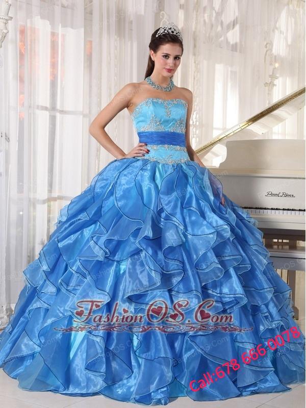 Romantic Blue Quinceanera Dress Strapless Organza Appliques Ball Gown