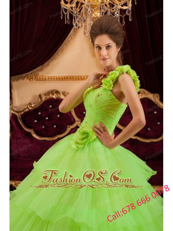 Romantic Spring Green Quinceanera Dress One Shoulder Ruffles A-line / Princess