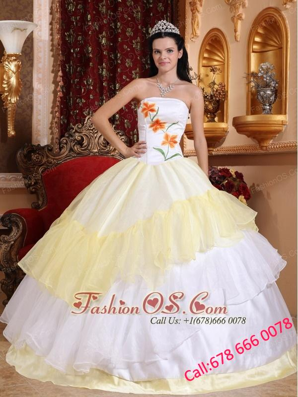Romantic Light Yellow and White Quinceanera Dress Strapless Organza ...
