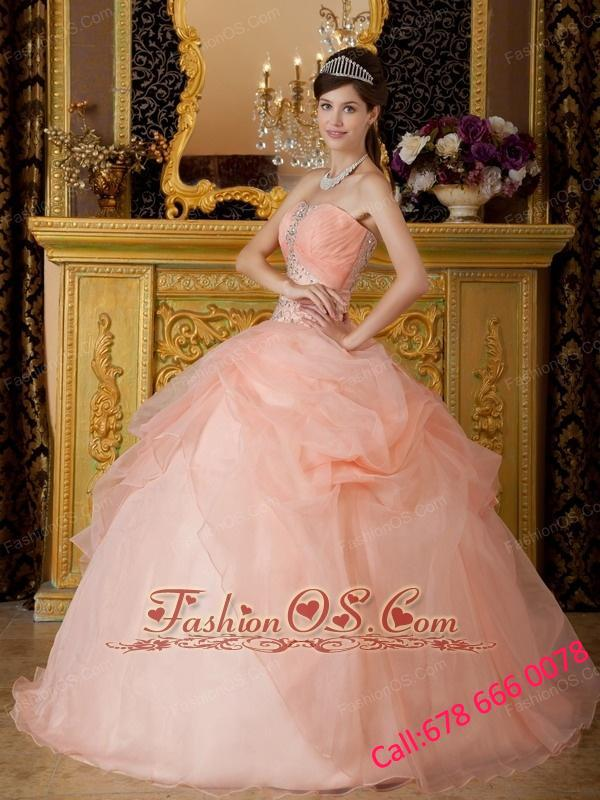 Romantic Baby Pink Quinceanera Dress Strapless Organza Beading Ball Gown