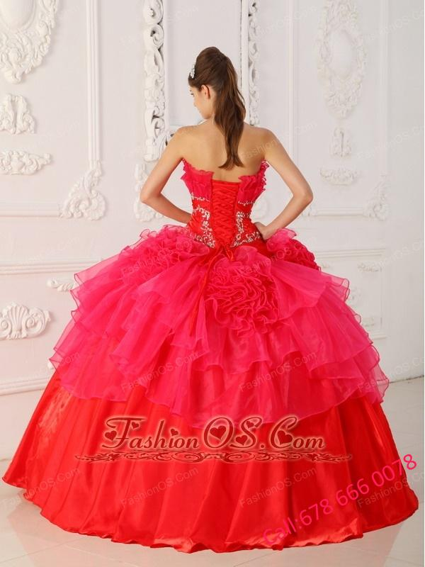 Romantic Red Quinceanera Dress Strapless Taffeta and Organza Ball Gown