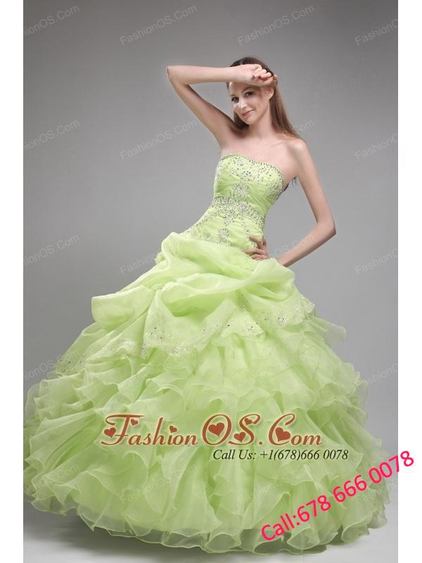 Romantic Spring Green Quinceanera Dress Strapless Orangza Beading and Ruffles Ball Gown