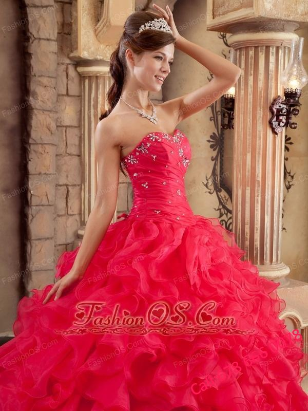 Sexy Coral Red Quinceanera Dress Sweetheart Ruffles Organza Ball Gown