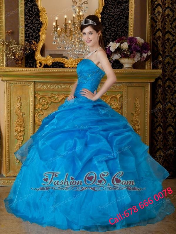 Simple Sky Blue Quinceanera Dress Strapless Appliques Organza Ball Gown