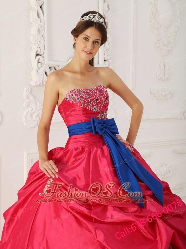 Simple Coral Red Quinceanera Dress Strapless Taffeta Beading and Sash Ball Gown
