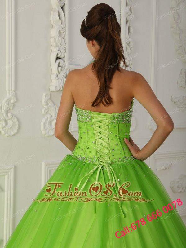 Simple Spring Green Quinceanera Dress Halter Tulle Beading A-line
