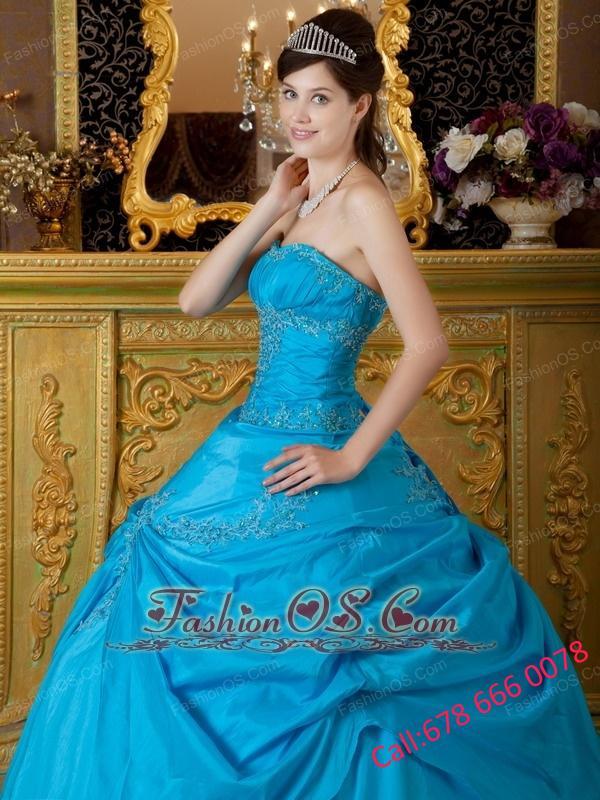 Sweet Sky Blue Quinceanera Dress Strapless Appliques Taffeta  Ball Gown