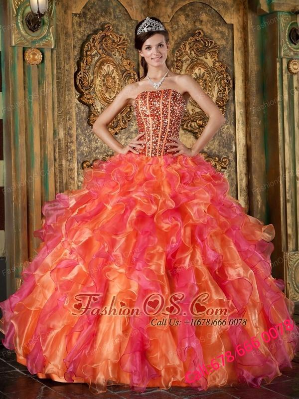 The Brand New Style Multi-Color Quinceanera Dress Strapless Organza Beading and Ruffles Ball Gown