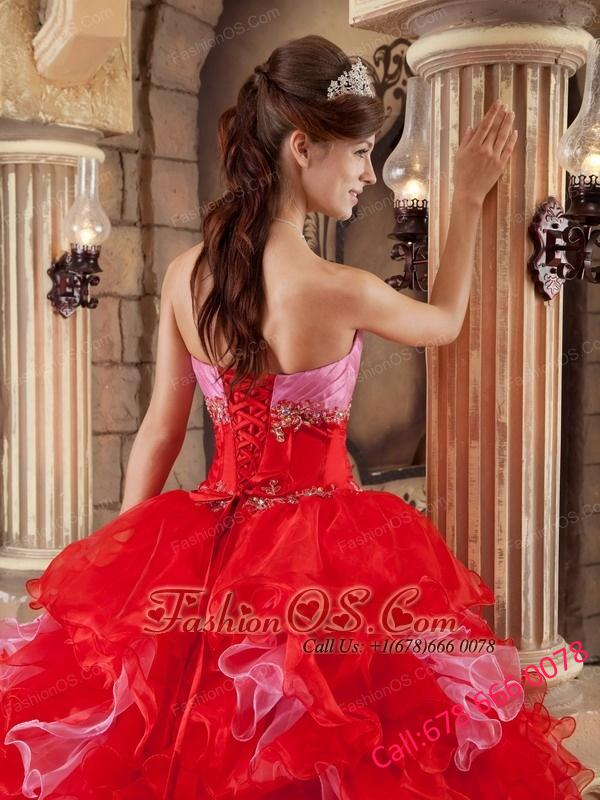 The Most Popular Red Quinceanera Dress Strapless Organza Beading and Ruffles  Ball Gown