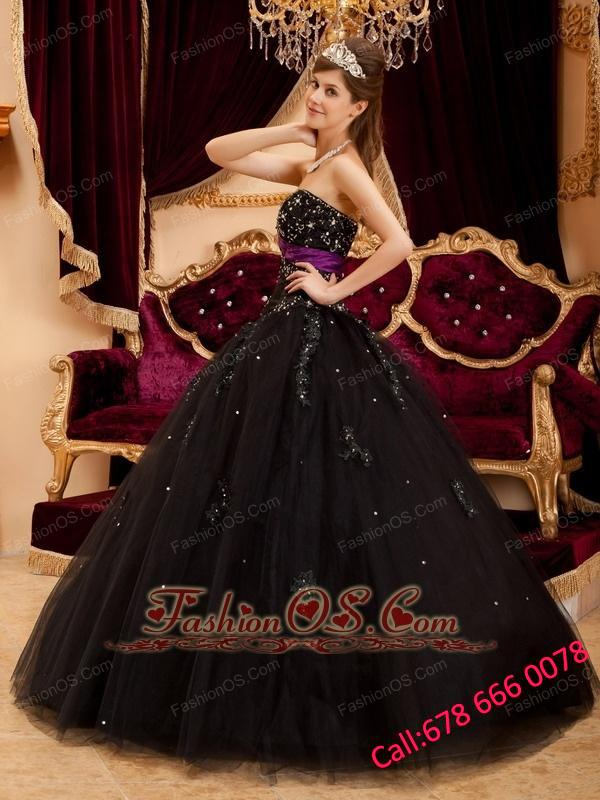 Wonderful Black Quinceanera Dress Sweetheart Tulle Appliques Ball Gown