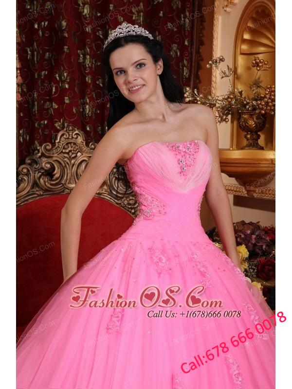 Wonderful Rose Pink Quinceanera Dress Strapless Tulle Beading Ball Gown