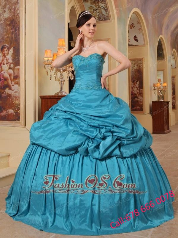 Wonderful Teal Quinceanera Dress Sweetheart Taffeta Beading Ball Gown