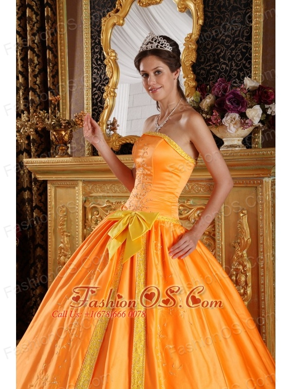 Beautiful Orange Quinceanera Dress Strapless Satin Embroidery Ball Gown