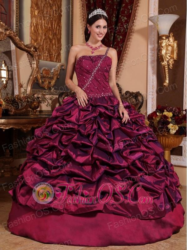 Best Burgundy Quinceanera Dress One Shoulder Taffeta Pick-ups Ball Gown