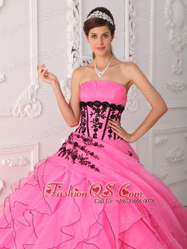 Sweet Hot Pink Quinceanera Dress Strapless Appliques and Ruffles Ball Gown