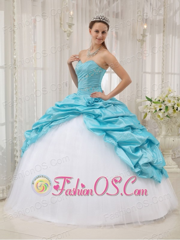 Affordable Aqua Blue Quinceanera Dress Sweetheart Taffeta and Tulle Beading Ball Gown