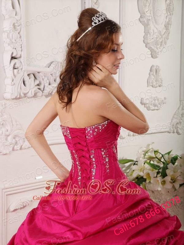 Affordable Red Quinceanera Dress StraplessTaffeta Beading Ball Gown