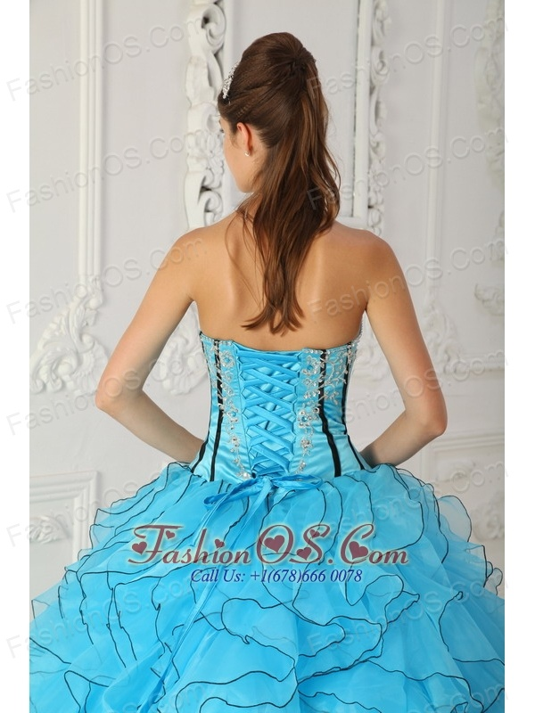Beautiful Baby Blue Strapless Organza Appliques Ball Gown Quinceanera Dress