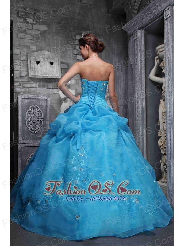Beautiful Baby Blue Quinceanera Dress StraplessTaffeta and Organza Appliques Ball Gown