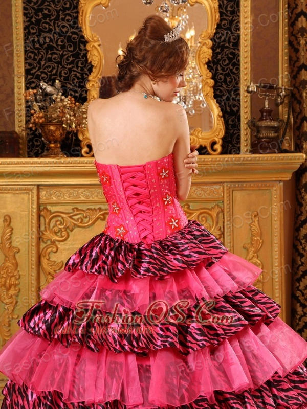 Beautiful Hot Pink Quinceanera Dress Ball Gown Sweetheart Organza and Zebra Beading