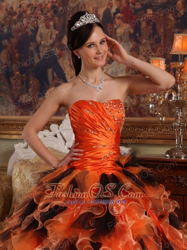 Beautiful Orange and Black Quinceanera Dress Strapless Organza Ball Gown