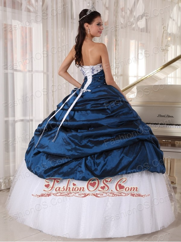 Beautiful Quinceanera Dress Strapless Taffeta and Tulle Embroidery Ball Gown