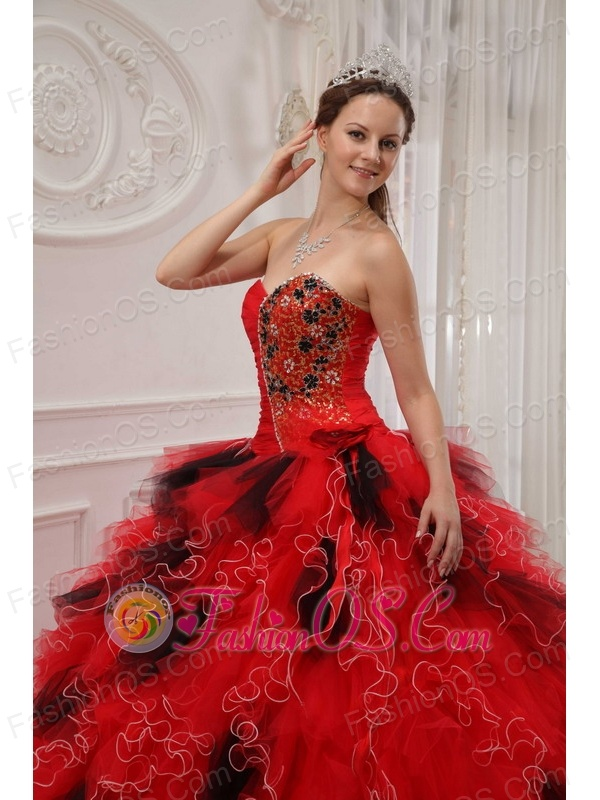 Beautiful Red and Black Quinceanera Dress Sweetheart Organza Beading and Ruch Ball Gown