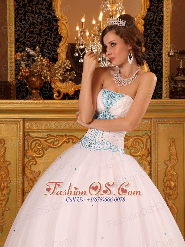 Beautiful White Quinceanera Dress Strapless Satin and Organza Beading Ball Gown