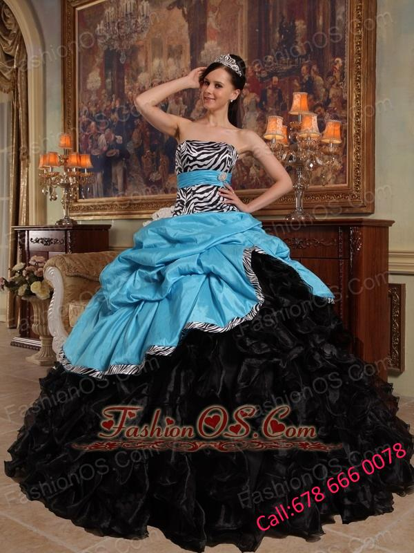 New Aqua Blue and Black Quinceanera Dress Sweetheart Pick-ups Ball Gown Taffeta and Organza